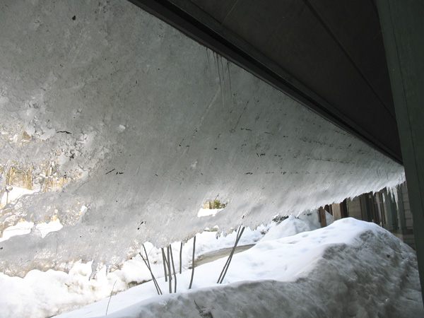 underneath an ice slide